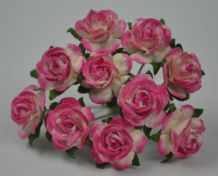 1.5cm BRIGHT ROSY PINK Mulberry Paper Roses